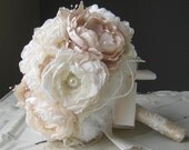 SOLD Fabric flower brooch wedding bouquet . from Mothers wedding dress . Vintage couture look with peony rose flowers