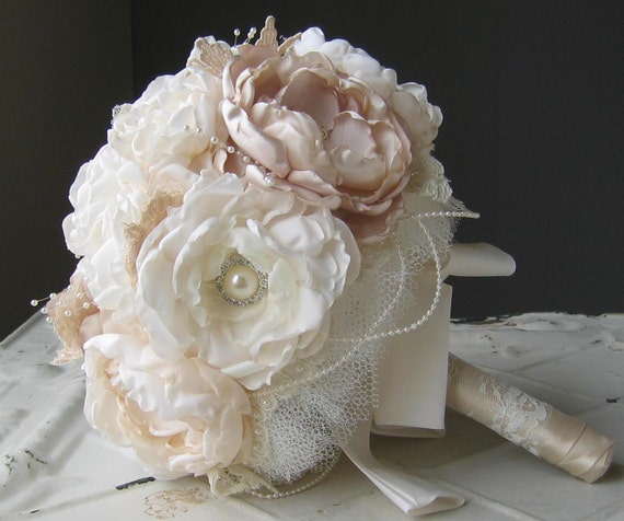 Items Similar To Fabric Flower Brooch Wedding Bouquet