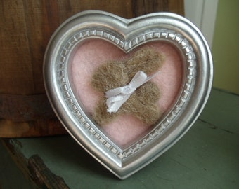 Needle Felted Brown Bunny Heart Shaped Framed Art