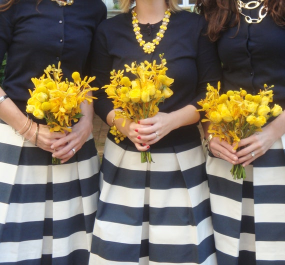 Navy Striped Bridesmaid Skirt Custom made also in Plus size