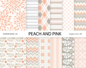 Digital paper peach and pink, floral digital paper pack , scrapbook paper -12 jpg files 12x12 - 558