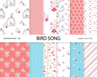 Shabby Chic Digital Paper, Bird Digital Papers for invitations, scrapbooking - 12 JPG files - INSTANT DOWNLOAD Pack 560