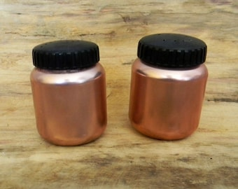 Vintage Mid Century RARE Pink Copper Tone Salt and Pepper Shakers COLOR CRAFT Made in the usa