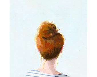 "5x7"" hair art - bun print - ""Top Knot 23"""