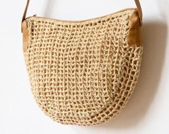 80s Woven Rope Mesh Hobo Bag, Slouchy New Wave Purse Tan Neutral Sand Khaki hipster small boho hippie light summer crescent handbag