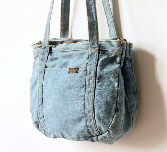70s Denim Purse Faded Chambray Blue Jean Bag Boho Western