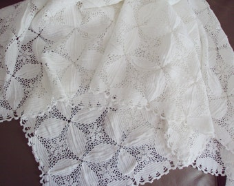 Vintage French White Hand Crocheted Tablecloth Runner Babys Bedcover Flowers Scalloped Edge 34 inches x 53 inches