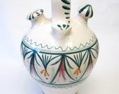Mexico Handmade Pitcher Painted Water Jug Home Decor Mexican Art Large Green White Yellow