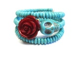 Day Of The Dead Bracelet Sugar Skull Cuff Wrap Turquoise Blue Dark Red Rose
