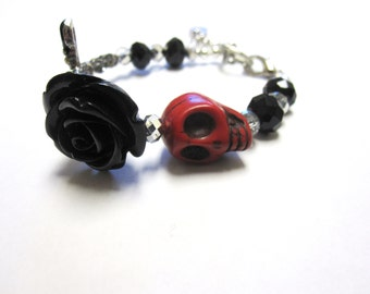 Sugar Skull Bracelet Day Of The Dead Jewelry Rose Black Cross Strand