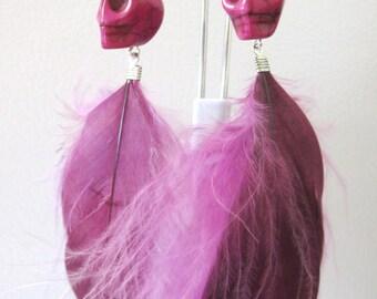 Sugar Skull Earrings Day of the Dead Purple Fuchsia Feather Earrings