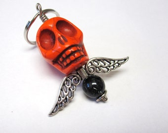 Big Daddy Orange Skull Keychain Wings Day of the Dead Key Ring Pendant