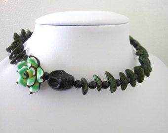 Sugar Skull Necklace Day Of The Dead Black Green Choker