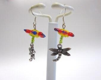 Dragonfly Earrings Lampwork Flower Red Yellow Blue Silver Green