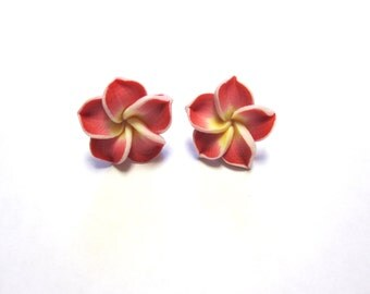 Red Floral Earrings Sweet Hibiscus Earrings Post