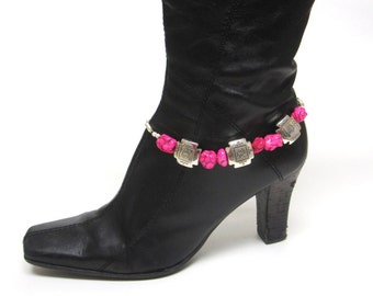 Boot Bling Bracelet Hot Pink Silver Conchos Western Cowgirl Jewelry Bling