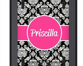 iPad Mini Case OTTERBOX DEFENDER - Black White Damask Hot Pink - Monogrammed iPad Mini 2 3 Case - Custom iPad mini 3 Case - Personalized
