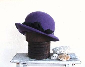 Purple womans bowler hat. Bowler hat with a little cloche hat brim. Unique womans hat.