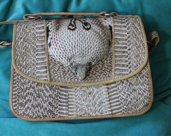 genuine cobra snakeskin purse with genuine leather- face & HEAD detail- RARE- OOAK