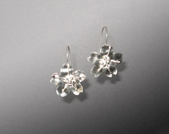 Sterling Silver Sakura Cherry Blossom Earrings (MX-11006-002)