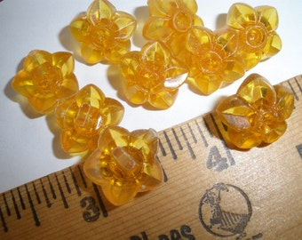 """Clear Yellow Flower Shape Shank Buttons 5/8"""" (24L 15mm) Rhinestone Ready plastic vintage crafts retro sewing paper tag supply 9 each"""
