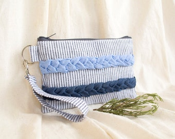 Striped Zipper Pouch, Blue Clutch, Cosmetic Bag with Chambray Plaits, Mediterranean Style Accessories