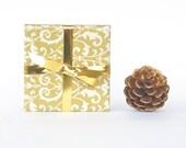 Elegant Gold Ornamental Pattern Ceramic Tile Coasters Christmas New Year's Hostess Gift, set of 4