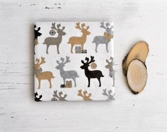 Christmas Deer Coasters Gold Silver Metallic Brown Woodland Rustic Ceramic Coasters Gift Under 25, set of 4