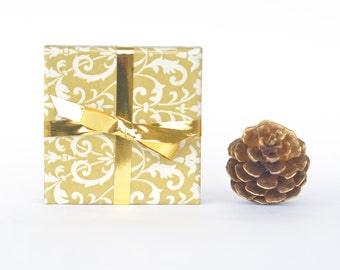Elegant Gold Ornamental Pattern Ceramic Tile Coasters Christmas New Year's Hostess Gift, set of 4