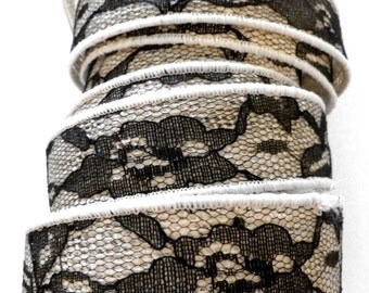 SALE, Black Lace over White Burlap Ribbon, Wired, Romantic, 4 YARDS, 1 3/8 inches wide, Black Lace,Wedding Ribbon, Clearance Ribbon
