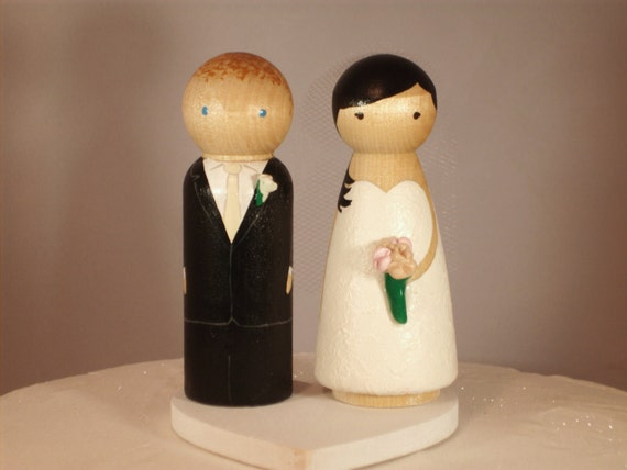 wedding cake toppers wooden dolls personalized wood doll topper wedding cake topper custom 26642