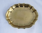 Sm Brass Tray with Scallop Edge- Round Brass Tray-- Vintage Brass Tray