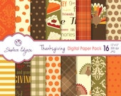 Thanksgiving Digital Paper Pack, 12x12 Instant Download for Cards, Invitations, Scrapbooking