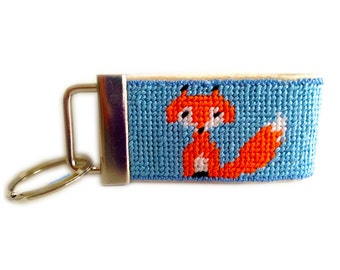 Needlepoint Kit, Fox Key Fob with monogram option