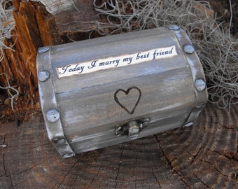 Choose A personal Quote For Your Ring Bearer Box / Anniversay Box Rustic Woodland Farmhouse