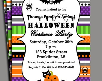 Halloween Invitation Printable or Printed with FREE SHIPPING - Ribbon Chic Colors Halloween Party