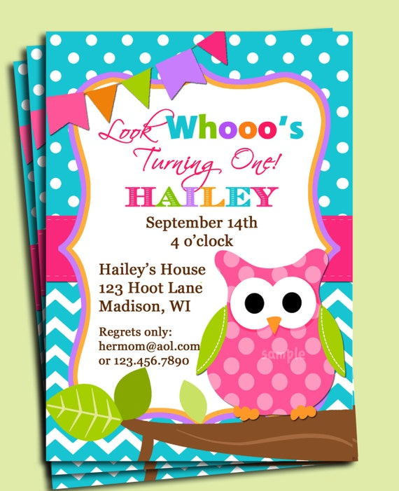 Girl Owl Invitation Printable or Printed with by ...
