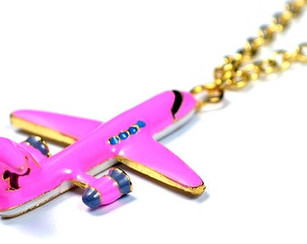 Pink Airplane Necklace, Aviation, World Traveler, Travel, Patina Plane Aircraft, Plane Charm