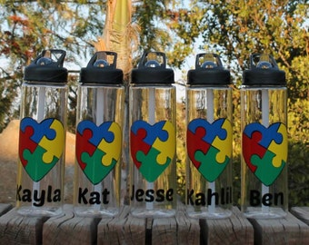 Custom/Personalized Autism Awareness Sports Bottle Tumbler