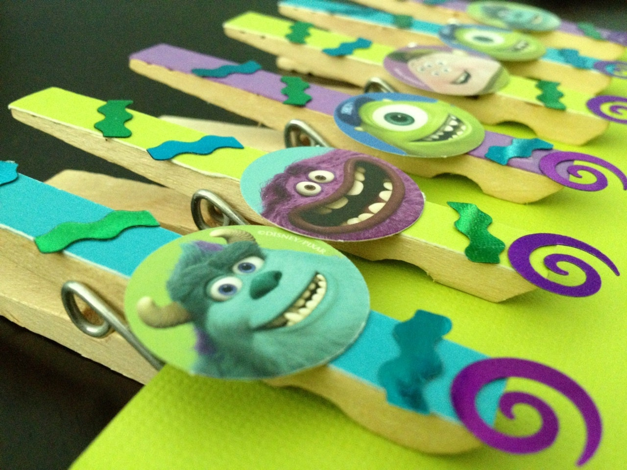 Monsters Inc Birthday Favors Or Treat Bag Clips Set Of 6