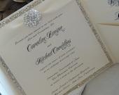 Reserved for Carla - Glitter / Brooch Pocket Wedding Invitation