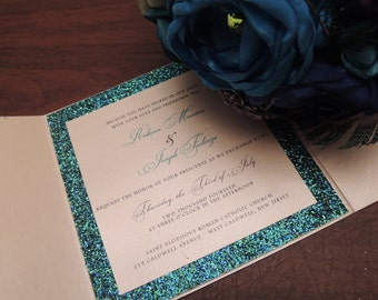 Reserved for Danielle - Glitter Wedding Invitation - Sparkle Wedding Invitation with Custom Glitter Color