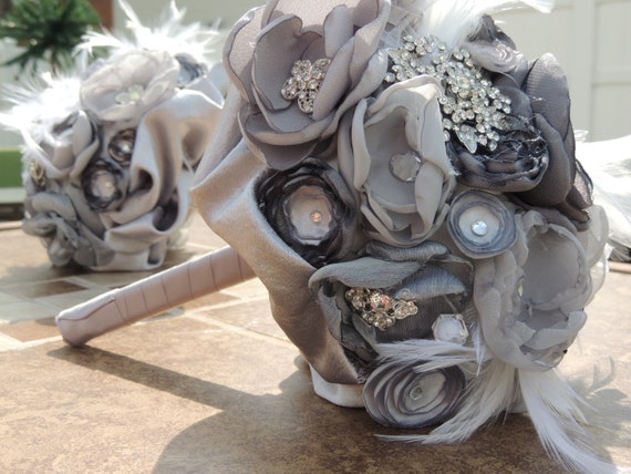 Fabric Flower and Brooch Bouquet / Bridal Bouquet / Silver Bridal Bouquet