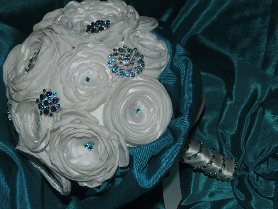 Turquoise / Aqua Bridal Bouquet // Fabric Wedding Bouquet