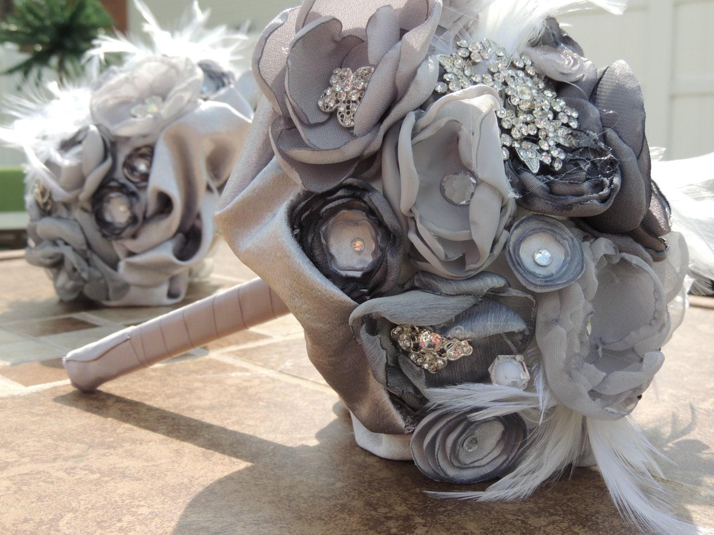 Wedding accessories ideas fabric flower and brooch bouquet bridal bouquet silver bridal bouquet izmirmasajfo