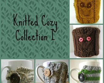 5 Different PDF KNITTING PATTERNS // Knitted Coffee Cozies // Instant Download