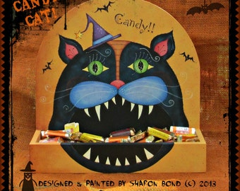 E PATTERN - Big Mouth Candy Cat! - Halloween Candy Display - Painted & Designed by Sharon Bond - FAAP