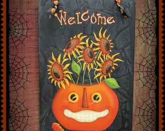 E PATTERN - Welcome Fall - Smiley Prim Pumpkin & Lots of Sunflowers - Designed and Painted by Sharon Bond - FAAP
