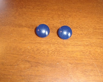 vintage clip on earrings blue metal dots circles