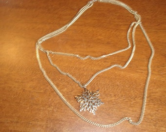 vintage necklace triple strand goldtone chains